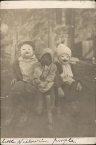 A vintage photo shows children in Halloween masks